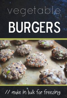 Hand-Mixed Veggie Burgers. Ingredients: Black beans, garlic, bell pepper, onion, carrot, rolled oats, breadcrumbs, sunflower seeds, flax meal, paprika, soy sauce, apple cider vinegar & salt and pepper.