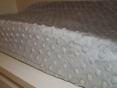 Changing Pad COVER in Silver Gray Minky Ready to by taramcwilliams, $18.00