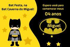 Convite de aniversário batman personalizado para festa infantil.