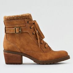 AE Heeled Lug Boot ($48) ❤ liked on Polyvore featuring shoes, boots, ankle boots, neutral, laced boots, lace-up boots, tan lace up boots and mid heel ankle boots