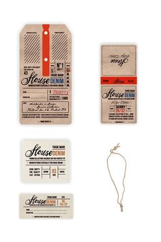 Love the worn design, the type face, the layout. Vintage - Denim Swing Tag & Label by Anna Maja Czech, via Behance Web Design, Label Design, Packaging Design, Hangtag Design, Logo Design, Ui Design Inspiration, Typography Inspiration, 2 Logo, Swing Tags