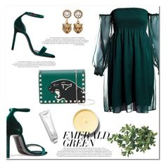 """""""Zelena"""" by marinelatadic ❤ liked on Polyvore featuring Yves Saint Laurent, Sans Souci, Valentino, Gucci and emeraldgreen"""