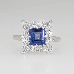Lovely 1930's Emerald Cut Lab Sapphire Diamond Halo Ring Platinum from jewelryfinds on Ruby Lane