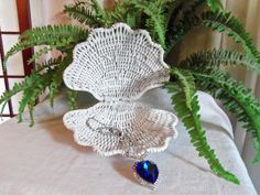 Vintage White Shabby Wicker Clam Beach Cottage by alottocollect, $15.00