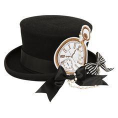 Milky Rail Train clock、シルクハット KERA SHOP[ケラ!ショップ] ❤ liked on Polyvore featuring accessories, hats, lolita, circus y costume