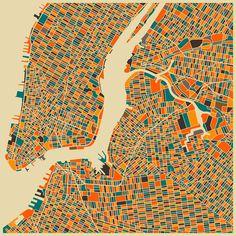 Retro New York City Map Wall Art via Schroeder New York City Map, New York Art, City Maps, Abstract City, Colorful Abstract Art, Blue Abstract, Abstract Print, Colors, Sketches