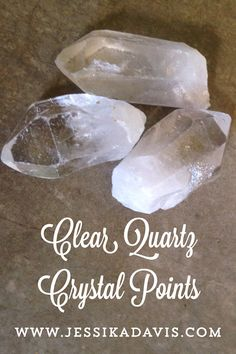 Clear Quartz Crystal Points  These stones where hand selected for you by www.JessikaDavis.com. Color: Clear with whitish bottoms   Chakras: All   Clear Quartz