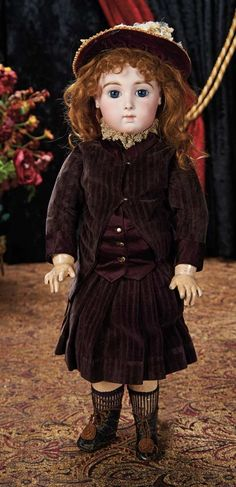 The Lifelong Collection of Berta Leon Hackney: 307 French Bisque Bebe Triste by Emile Jumeau, Rare Size 9