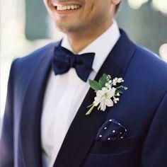 Blue velvet bow tie   Holden Bespoke   Luxury London Wedding Planner