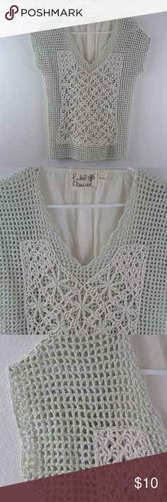 ANTHROPOLOGIE FIELD FLOWER CROCHET V-NECK TOP Size small, contrasting mesh back with drawstring, 100% cotton, great condition. Anthropologie Tops
