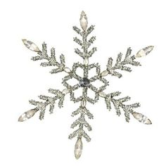 Amazon.com: Christmas Decorations Silver Cut Glass Beaded Snowflake With Rhinestones Xmas Ornaments Set Of 2: Home & Kitchen