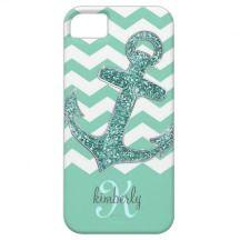 Aqua Glitter Anchor White Chevron Personalized iPhone 5 Cases