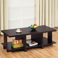 @Overstock - This versatile coffee table features a sleek coffee bean finish. This functional coffee table also features an open, divided shelf on the bottom for extra storage.http://www.overstock.com/Home-Garden/Coffee-Bean-Divided-Coffee-Table/5328388/product.html?CID=214117 $130.49
