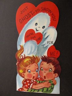 VINTAGE VALENTINE'S DAY GREETING CARD SPOOKY GHOST TWO FRIGHTENED CHILDREN