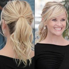 Reese Witherspoon always looks so cute and has great hair! My Hairstyle, Ponytail Hairstyles, Hairstyles With Bangs, Pretty Hairstyles, Bangs With Ponytail, Bangs Sideswept, Hairstyle Photos, Braid Ponytail, Braid Hair