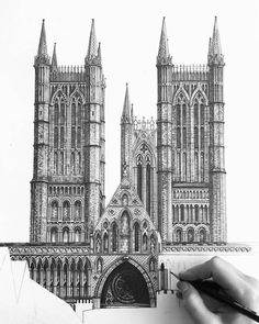 Here's a beautifully detailed #WIP #architecture #illustration by Minty Sainsbury (@minty_sainsbury) of Lincoln Cathedral which is also known as the Cathedral Church of the Blessed Virgin Mary of Lincoln in England.  No matter how many times I see Minty's architectural drawings I am consistently left in awe of the fine illustrated details. It's almost as if she actually constructed the church brick by tiny textured brick. I could almost imagine the miniature bricks being lain the carving…