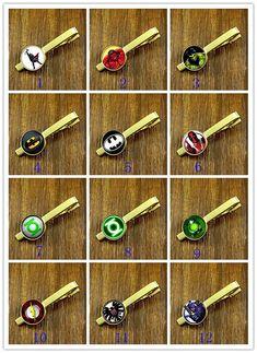 Tie Clips- Superhero Clips,Gold tie clips, Mens Tie Clip,Fathers Day Tie Clip,Wedding Tie Clips,DIY Tie clip,Groom gift