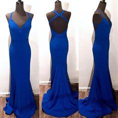 Charming Long Prom Dress,Blue Mermaid Prom Dress,Elegant Prom Dress,Long Evening Dress,Formal Gown by fancygirldress, $139.00 USD