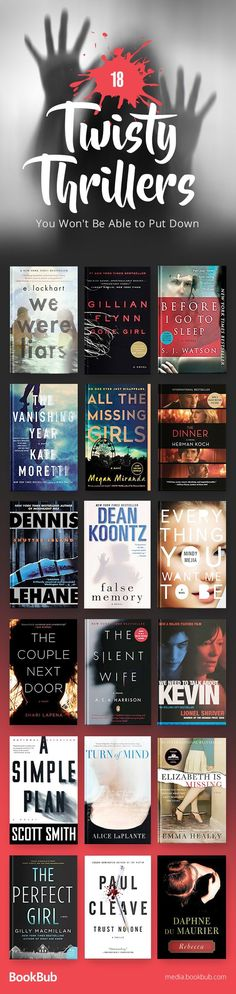 18 thriller books to read in 2017, including suspenseful books with twists, turns mystery, and suspense. Big Books, I Love Books, Book Club Books, Book Clubs, Book To Read, Novels To Read, Book Worms, Thriller Novels, Mystery Novels