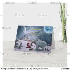Merry Christmas Polar Bear & Santa Snow Scene Holiday Card