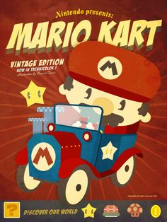 geeksngamers: Mario Kart Vintage - by Danvinci Prints available at Society6