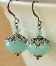 Ooh, I've Got Something to Show You!: Aqua Chalcedony and Oxidized Silver Vintage Style Earrings                                                                                                                                                                                 More