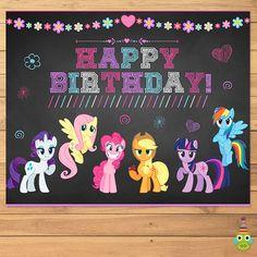 My Little Pony Birthday Sign Chalkboad Flower * My Little Pony Birthday * My Little Pony Sign * My Little Pony Favors Happy Birthday For Her, My Little Pony Birthday Party, 5th Birthday Party Ideas, Happy Birthday Cards, Birthday Wishes, 4th Birthday, Birthday Cakes, My Little Pony Stickers, Happy Birthday Typography