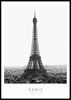 Poster med svartvitt fotografi av eiffeltornet.
