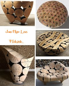 Weird Furniture, Resin Furniture, Log Furniture, Unique Furniture, Furniture Design, Wood Sculpture, Sculptures, Origami Table, Table Cafe
