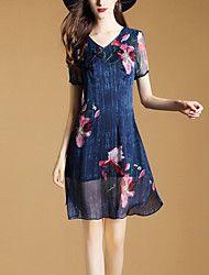 Women's Slim Chinoiserie A Line Dress Print V Neck Mini Short Sleeve Rayon Summer Mid Rise Inelastic Thin