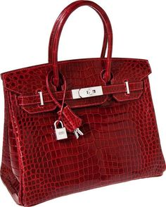Birkin  Hermes Exceptional Collection Shiny Rouge H Porosus Crocodile and diamonds the most expensive in the world: 203,150 of  dollars   so so exaggerated