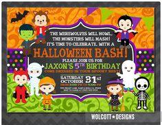 Halloween Birthday Invitation Kids Party Costume Invitations