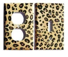 Leopard Print Light Switch Plate Decorative Outlet Set Jungle Room Decor Cheetah Home Decor