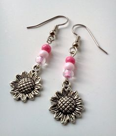 SALE Pink Sunflower Dangle Earrings by PinkCupcakeJC on Etsy, $3.00