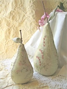 Beautiful embroidered pears