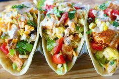 Southwest Chopped Chicken Salad Tacos Recipe on Yummly. Chicken Ranch Tacos, Mexican Chicken Salads, Cilantro Lime Chicken, Healthy Taco Recipes, Healthy Tacos, Dog Food Recipes, Chicken Recipes, Chipotle Ranch Dressing, Lime Dressing