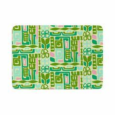 """Amy Reber """"Maze"""" Green Vector Memory Foam Bath Mat"""