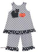 Bailey Boys Pumpkin & Cat Ruffle Pant Set