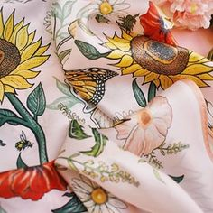 With a week of rain forecast I think the wild flowers are going to have a field day soaking, basking & growing! 🌿🌻 Featuring the luxurious 'Blackbirds & Sunflowers' silk scarf 🌿🌻   www.katiecraven.co.uk Field Day, Scarf Design, Fashion Brand, Wild Flowers, Blackbirds, Photo And Video, Sunflowers, Silk