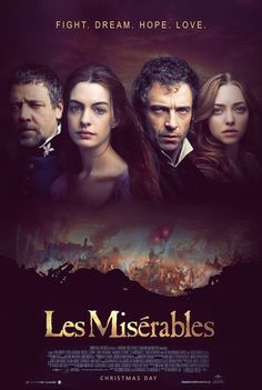 Les Misérables (2012) | directed by Tom Hooper | starring Hugh Jackman, Russell Crowe, Anne Hathaway, Amanda Seyfried, Eddie Redmayne, Samantha Barks, Helena Bonham Carter, and Sacha Baron Cohen