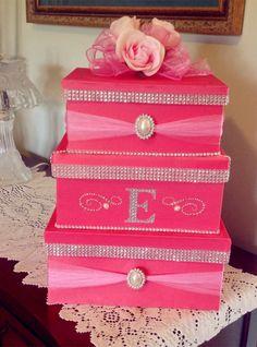 2014 hot pin wedding card money box, pink flowers wedding card holder, romantic card houlder