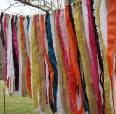 BOHO, Gypsy, Rag Garland, Curtain, Banner, Shabby Chic,Teen Dorm Decor on Etsy, $35.00