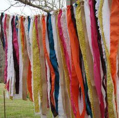 BOHO, Gypsy, Rag Garland, Curtain, Banner, Shabby Chic,Teen Dorm Decor on Etsy, $35.00