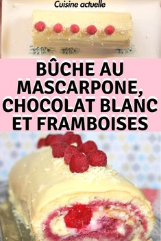 Mascarpone log white chocolate and raspberries Cheesecake Recipes, Dessert Recipes, Dessert Pots, Food Log, Tupperware, Raspberry, Deserts, Food And Drink, Pudding