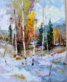 Dean Bradshaw seeks to achieve abstract quality using recognizable shapes. Represented by Horizon Fine Art Gallery in Jackson Hole, Wyoming. Seascape Paintings, Landscape Paintings, Abstract Landscape, Abstract Art, Winter Painting, Fine Art Gallery, Tree Art, Jackson Hole, Jackson Wyoming