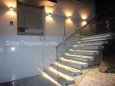 MISTRAL - Straight staircase / glass frame / wooden steps / without risers by Siller Stairs Cantilever Stairs, Concrete Staircase, Glass Stairs, Floating Staircase, Staircase Design, Stair Design, Stairs Without Stringers, Commercial Stairs, Glass Wall Design