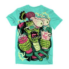 electric zombie ❤ liked on Polyvore featuring tops, shirts, t-shirts and tees