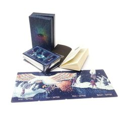 The Prisma Visions Tarot Deck – All the suits form a single landscape when laid out next to each other.
