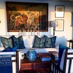 Living room with British Colonial style - indigo batik throw pillows, white slipcovers - Lynda Kerry