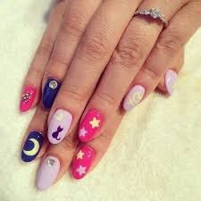 16 Nail designs inspired by Sailor Moon to never mature NEVER - Best Nails For Women Uñas Sailor Moon, Sailor Moon Nails, Sailor Moon Makeup, Love Nails, Pretty Nails, My Nails, Kawaii Nail Art, Cute Nail Art, Anime Nails